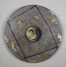 Andrea Broyles' Self-Portrait, 1995 | Oil on wood | 24in Round
