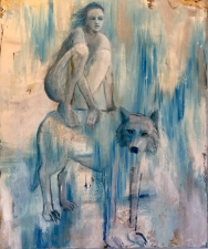 GIRL ON GREY WOLF 40x30
